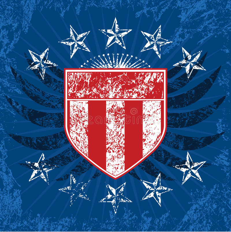 Download Red White & Blue Grunge Shield Stock Vector - Image: 3357988