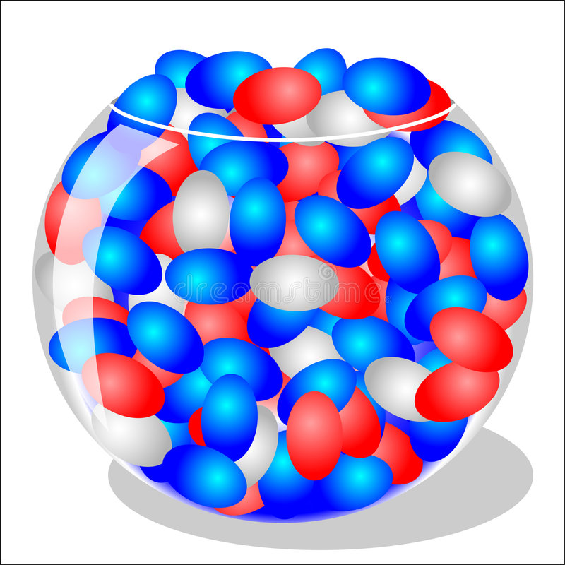 Red, White and Blue Jelly Beans vector illustration