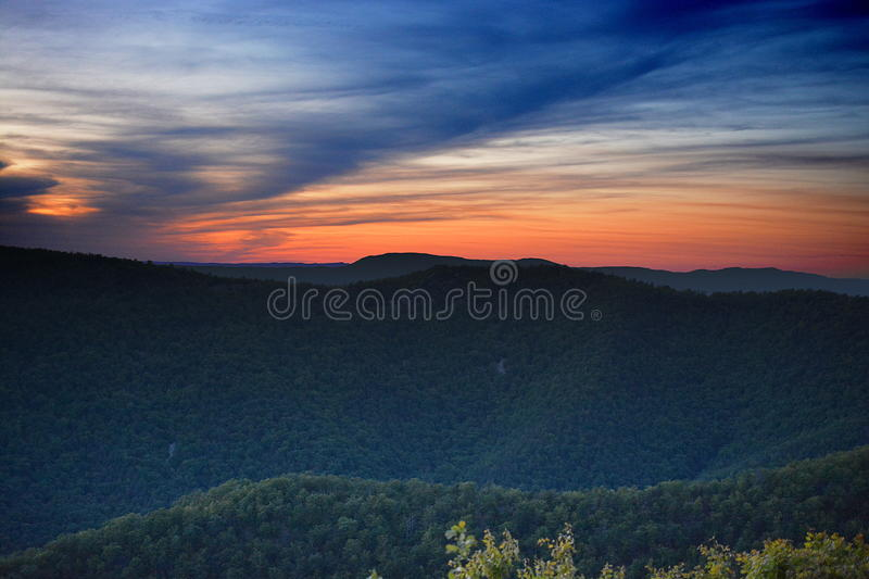 Red white and blue over Shenandoah. Patriotic sunset over the Blue Ridge Mountains stock images