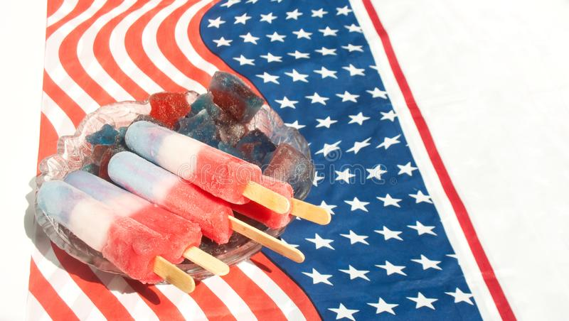 Red, White and Blue Popsicles in Stars and Stripes Ice stock photo