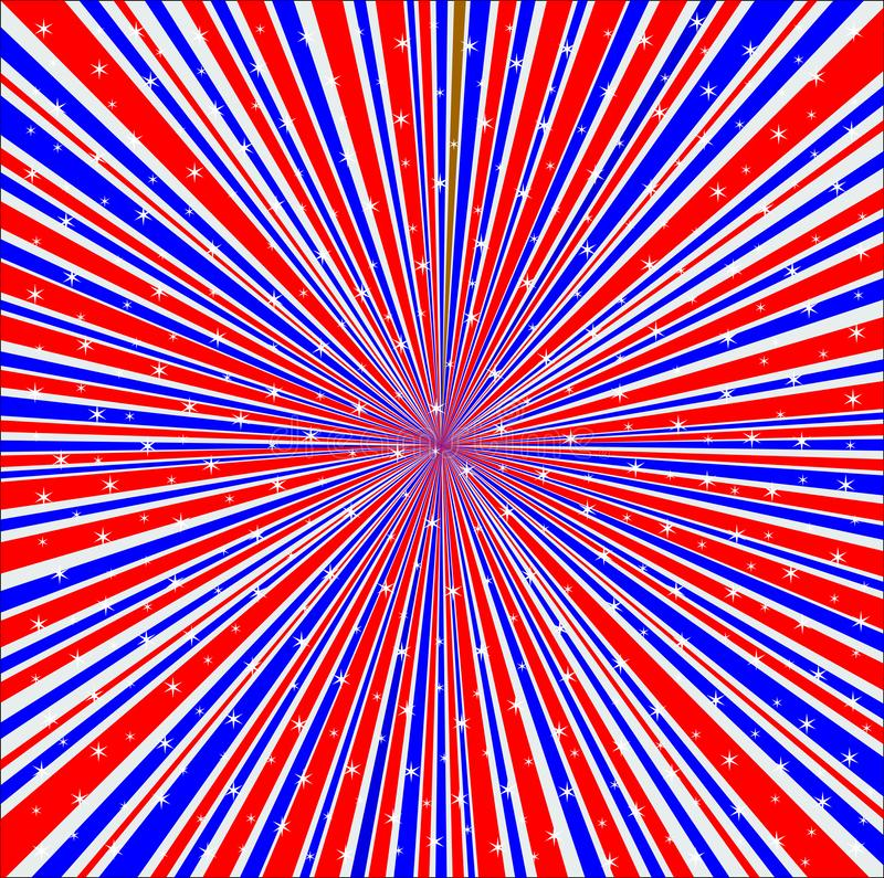 Red White And Blue Rays Background With Stars. Abstract and retro grunge red white and blue backround design element with stars vector illustration