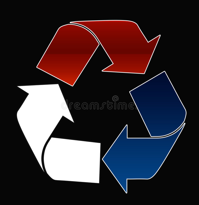 Red white and blue recycle stock photo