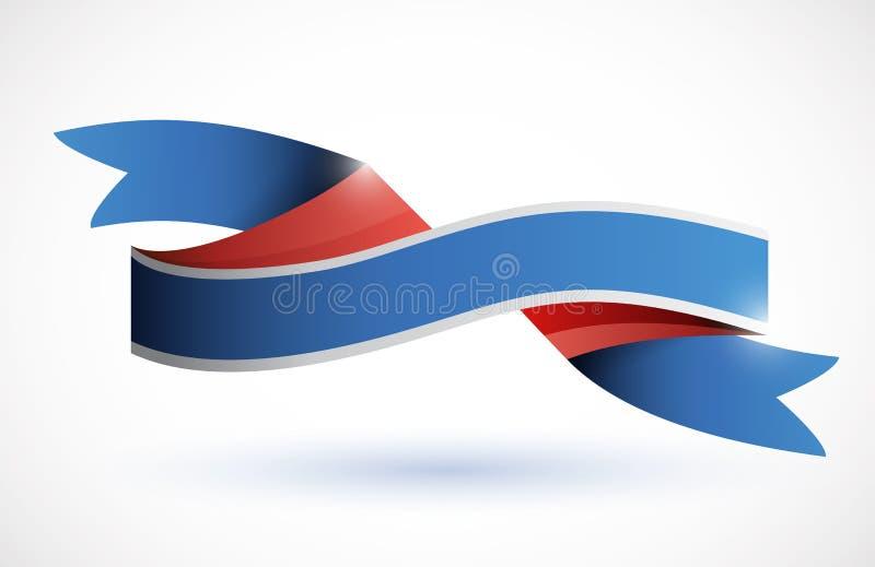 Red, white, blue ribbon illustration stock illustration