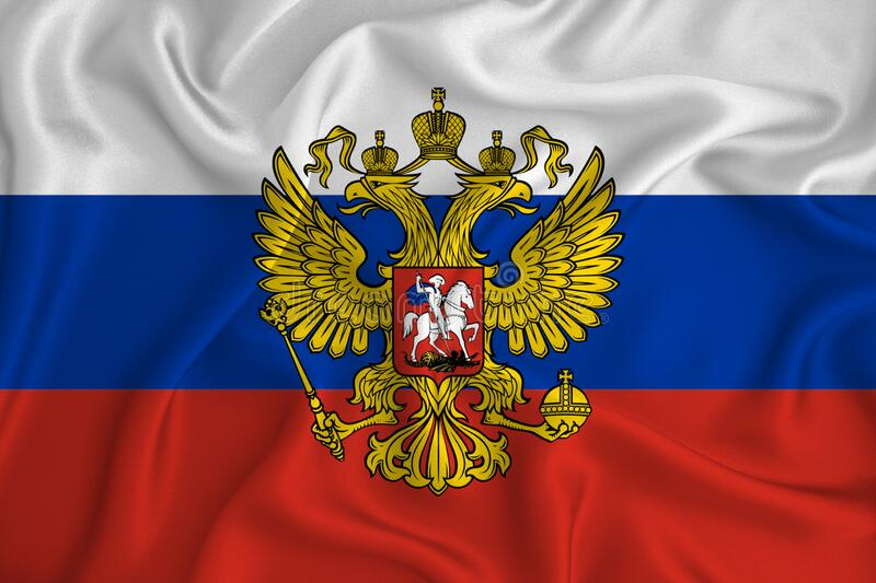 Red white and blue Russia flag waving in the wind, close up. Russian federation patriotism concept.  stock photo