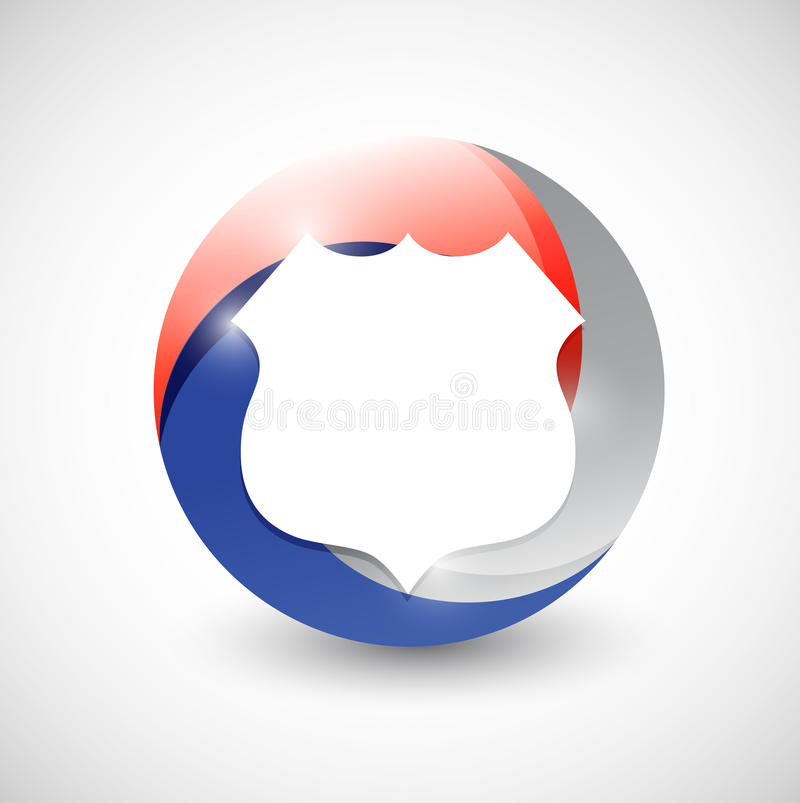 Red, white and blue shield illustration design vector illustration
