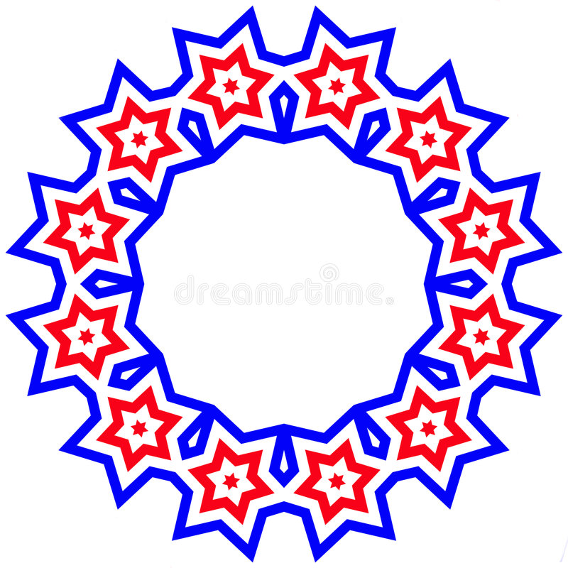 Red, White, & Blue Star Frame - American Pride stock illustration