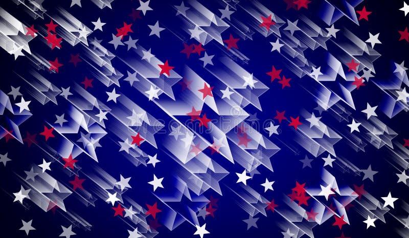 Red white and blue stars,blue background,white stars,many stars stock illustration