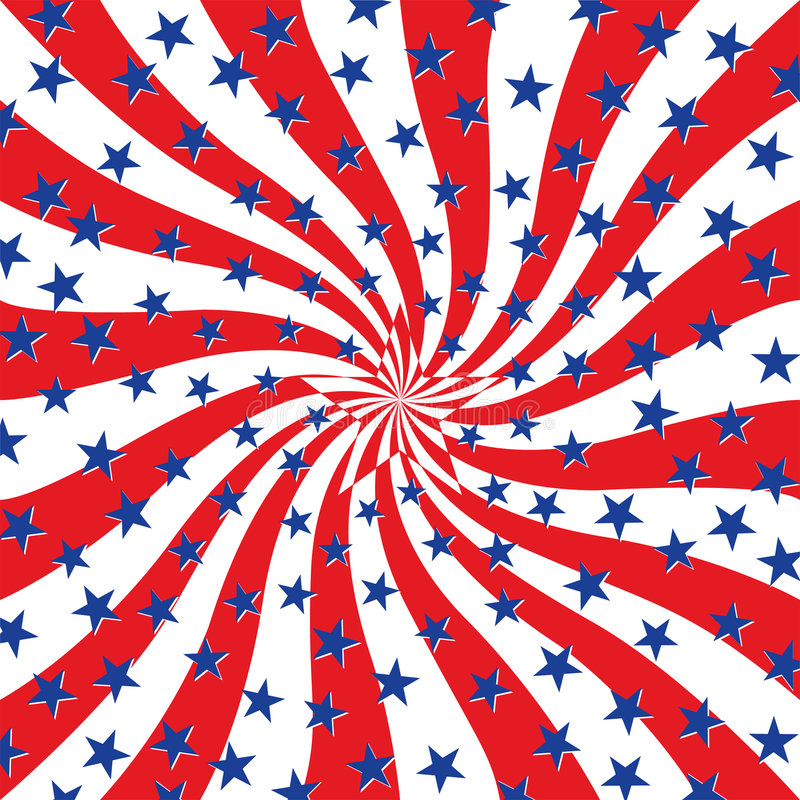Red White and Blue Stars on Swirl Background vector illustration