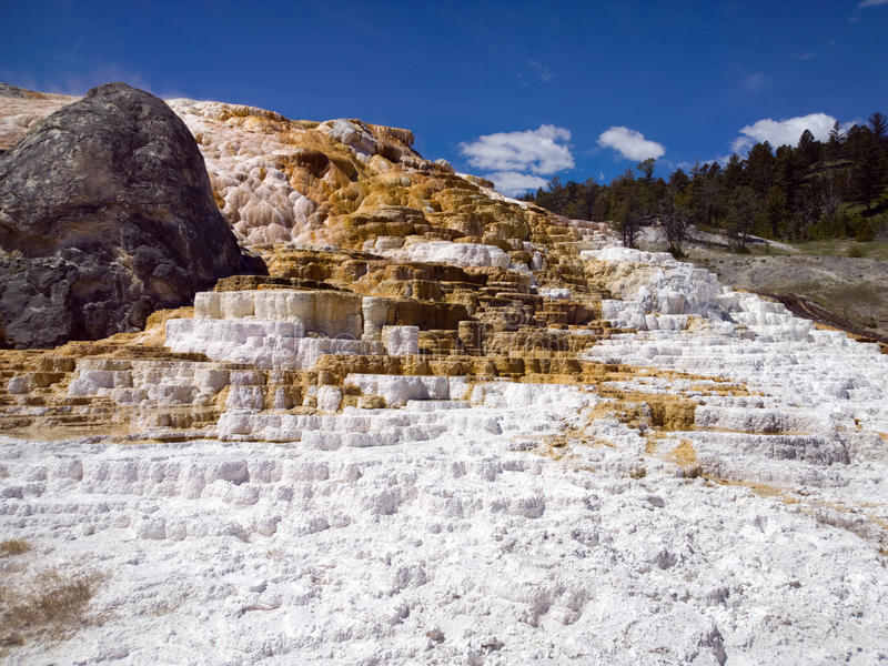 Red, White and Blue. Red and white travertine terrace calcium carbonate deposits, blue sky at Mammoth Hot Springs, Yellowstone National Park royalty free stock photo
