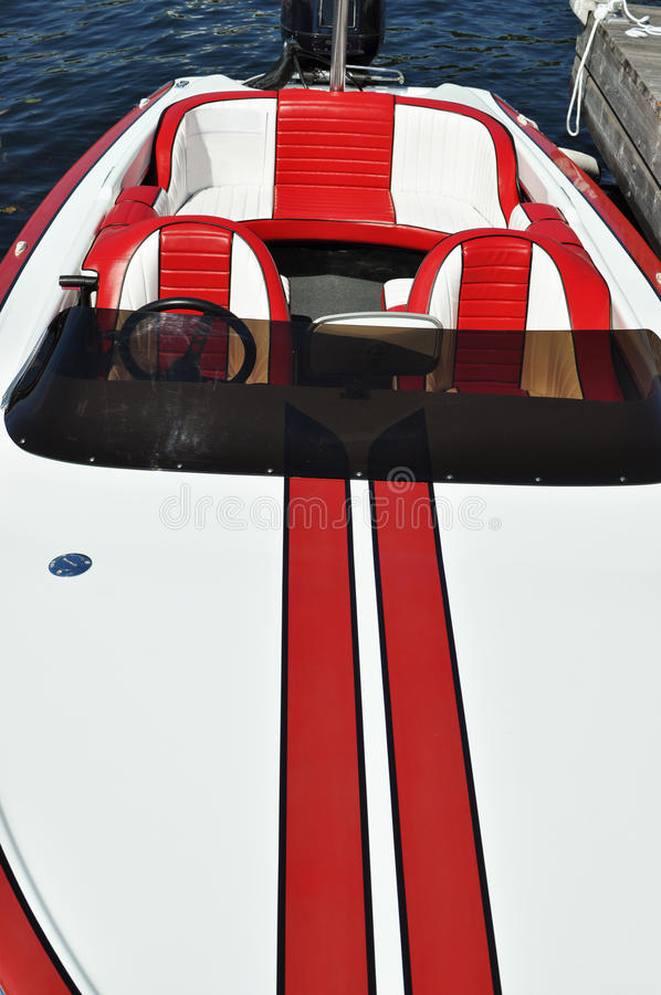 Red and white boat royalty free stock photo