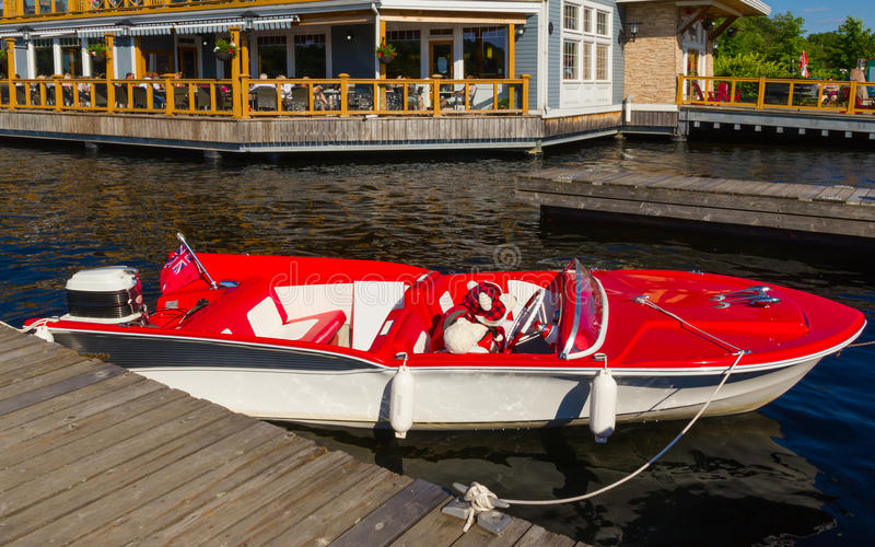 Red and white boat stock image