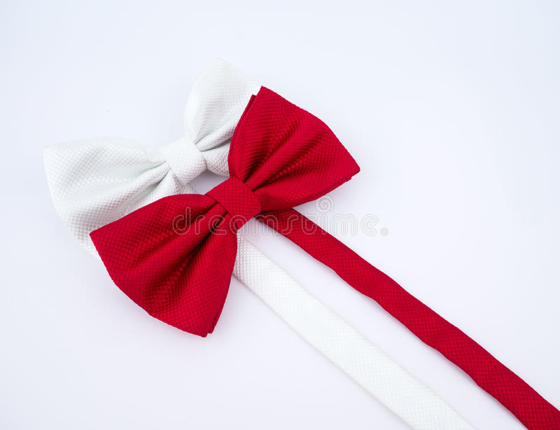 Red and white bow tie on white background stock photo