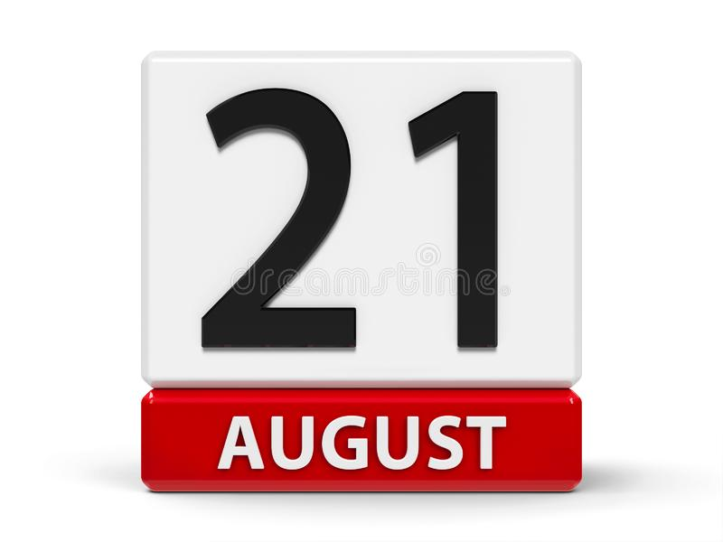 Cubes calendar 21st August. Red and white calendar icon from cubes - The Twenty First of August - on a white table - International Day of Remembrance of and vector illustration
