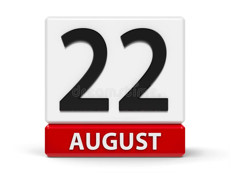 Cubes calendar 22nd August. Red and white calendar icon from cubes - The Twenty Second of August - on a white table - International Day Commemorating the Victims royalty free illustration