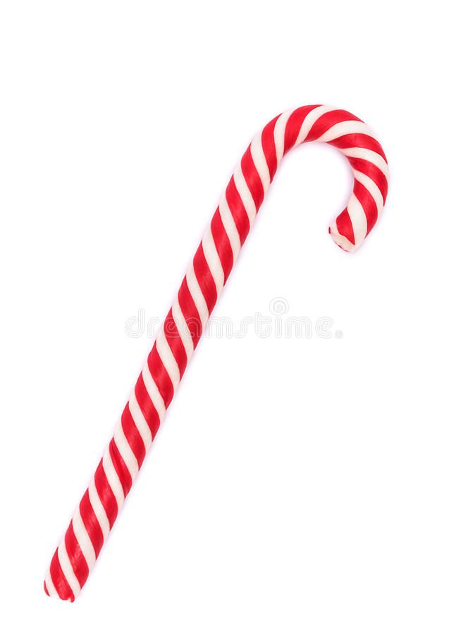 Red-white candy cane isolated on white. With shadow stock photo