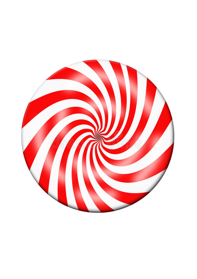 Red and White Candy Disc. A red and pink peppermint candy illustration on a white background royalty free illustration