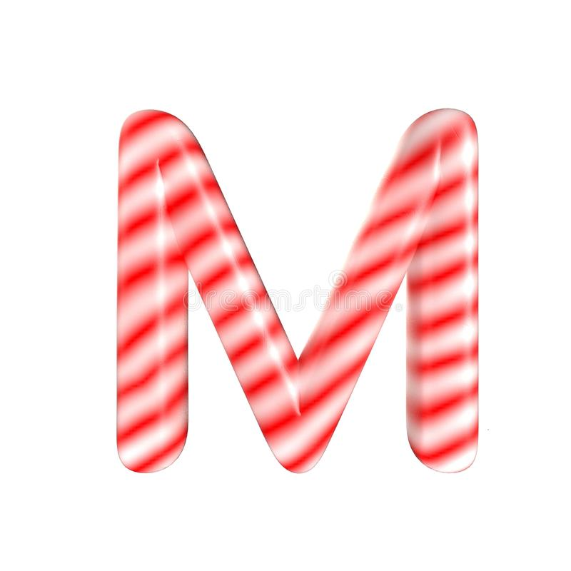 Red White candy letter M Isolated on white background. Red White candy letter Isolated on white background 3D Rendering royalty free stock image