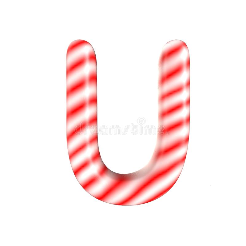 Red White candy letter U Isolated on white background. Red White candy letter Isolated on white background 3D Rendering stock photo