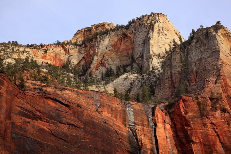 Red White Canyon Walls Zion Canyon Utah stock photography