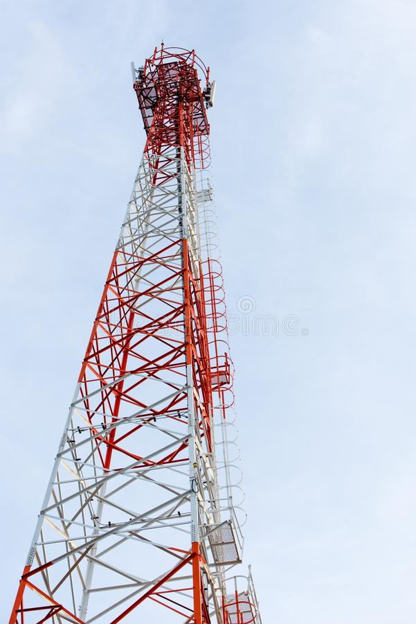 Red and white cell tower stock image. Image of station - 113963715