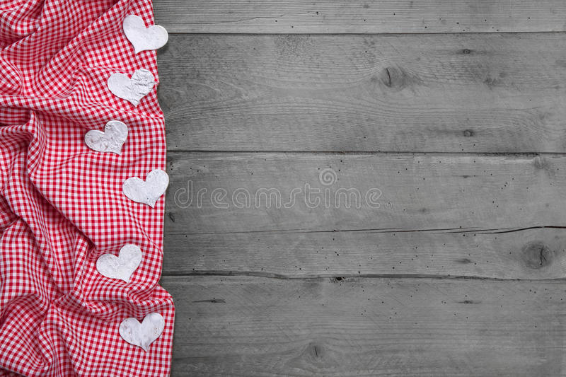 Download Red And White Checkered Frame With Hearts On Woode Stock Photo - Image: 34585492