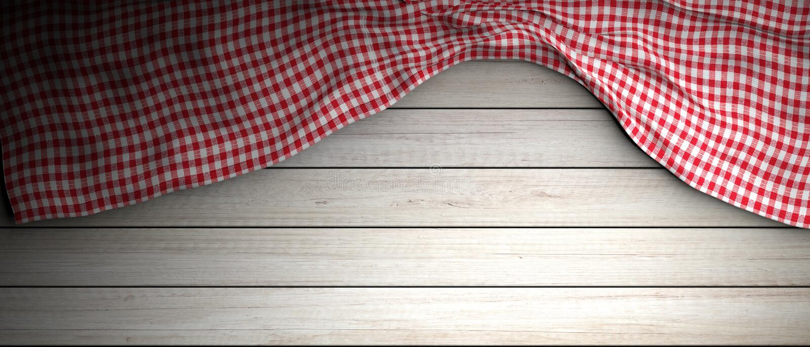Red white checkered picnic tablecloth on white wooden background, copy space. 3d illustration. Red and white checkered picnic tablecloth on white wooden vector illustration
