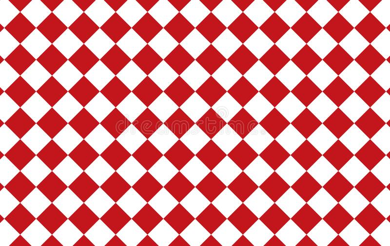Red and white checkered tablecloth background.Texture from rhombus for - plaid, tablecloths, clothes, shirts, dresses, paper, bed stock illustration