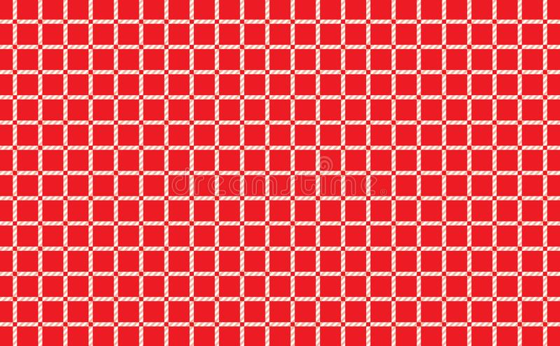 Red and white checkered tablecloth background.Texture from rhombus for - plaid, tablecloths, clothes, shirts, dresses, paper stock illustration