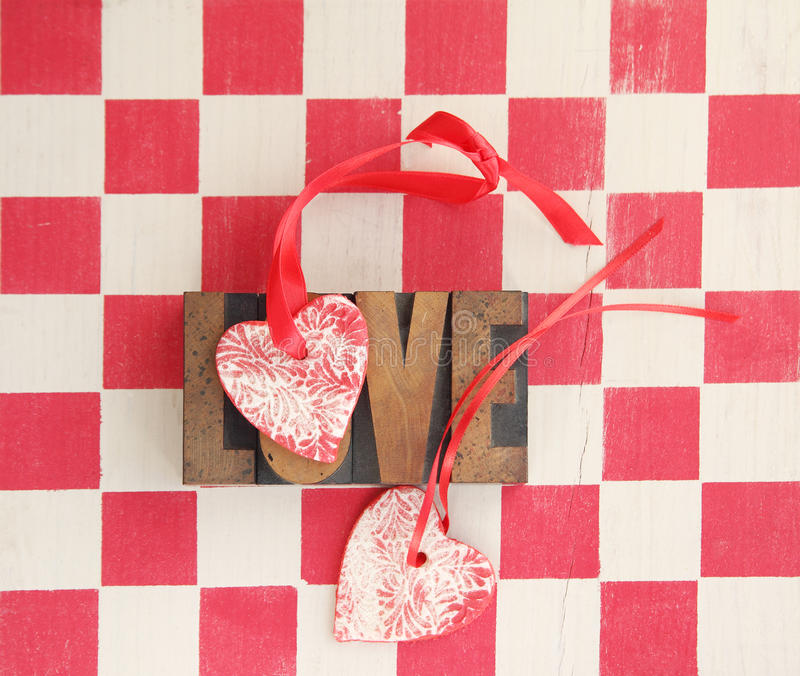 Download Red And White Checks With Hearts And Love Word Royalty Free Stock Photo - Image: 28684505