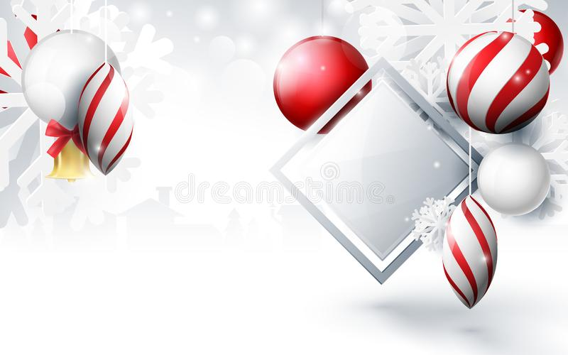 Red and white christmas balls with ornaments snowflakes, gold bell and geometric on bokeh background royalty free illustration