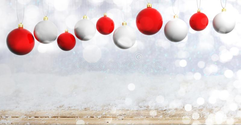 Christmas balls on wooden background with snow, copy space. 3d illustration royalty free illustration
