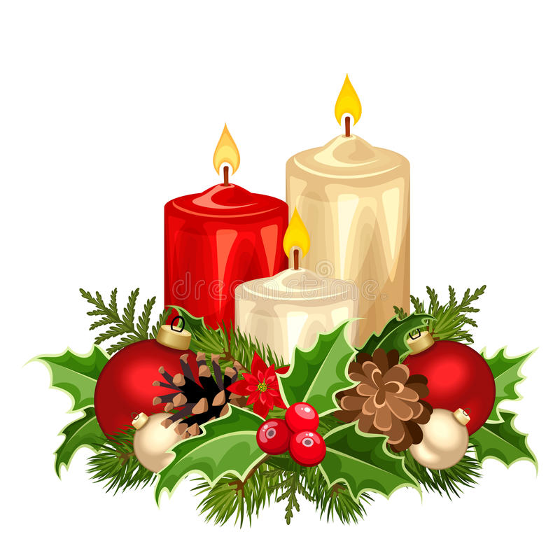 Red and white Christmas candles. Vector illustration. stock illustration