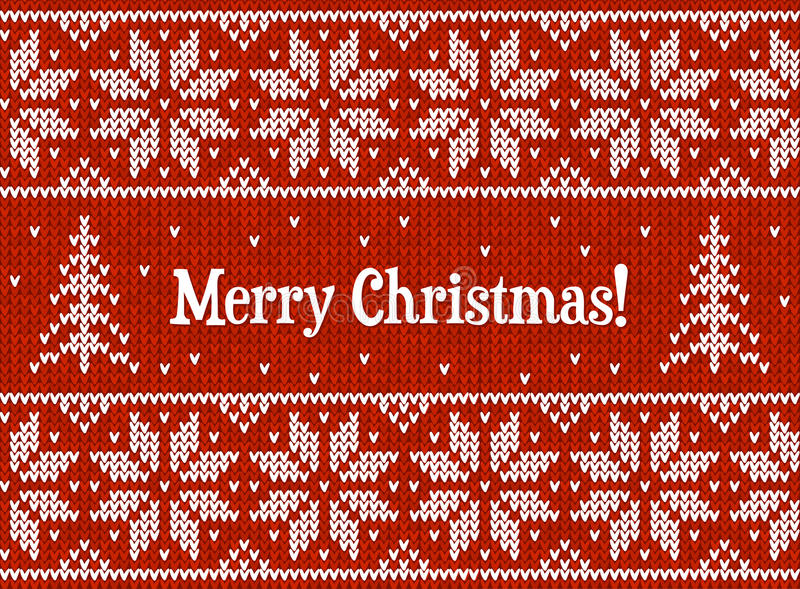 Red and white Christmas knit greeting card royalty free illustration