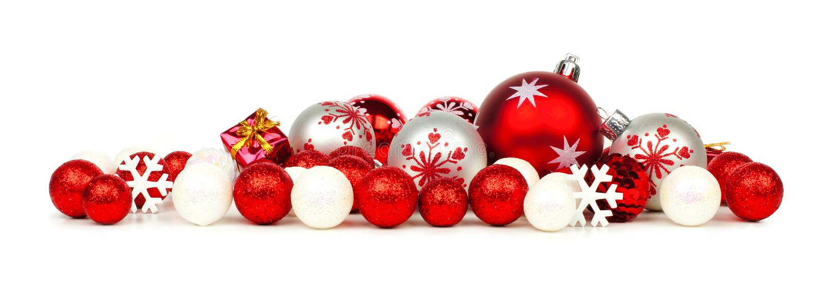 Red and white christmas ornament border stock photo