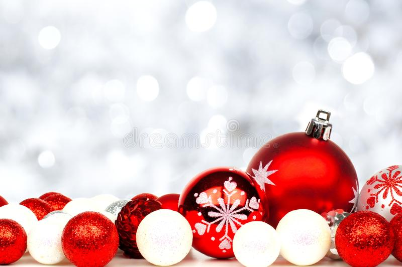 red and white christmas ornament border stock image