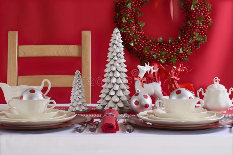 Download Red And White Christmas Table Setting. Stock Image - Image of fork centerpiece & Red And White Christmas Table Setting. Stock Image - Image of fork ...