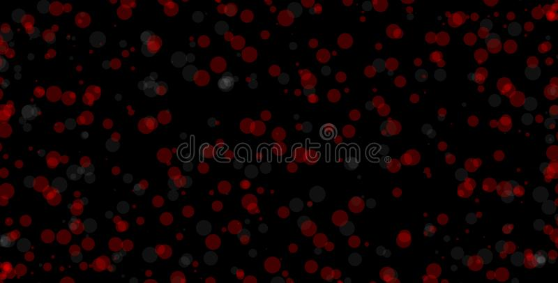 Red and white circles on black background. Abstract bokeh background illustration. Beautiful red abstract lights. Red circles with white dots on black stock illustration