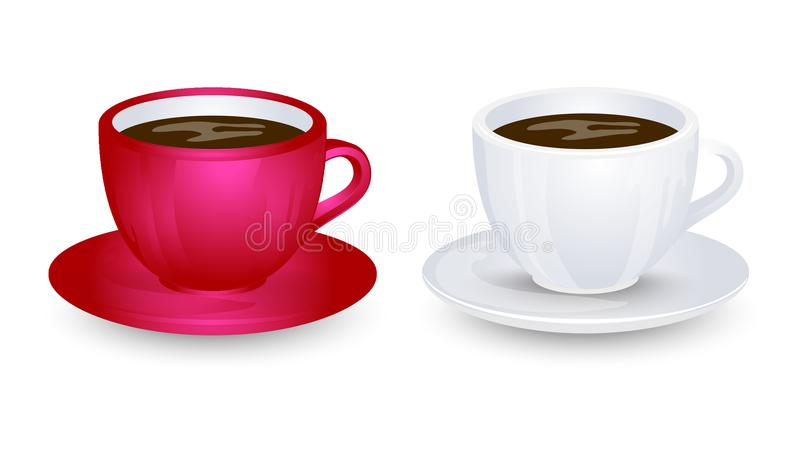 Red and white coffe cup mockups on plate vector design. Isolated on white background. Red and white coffe cup mockups on plate vector design. Isolated on white royalty free illustration