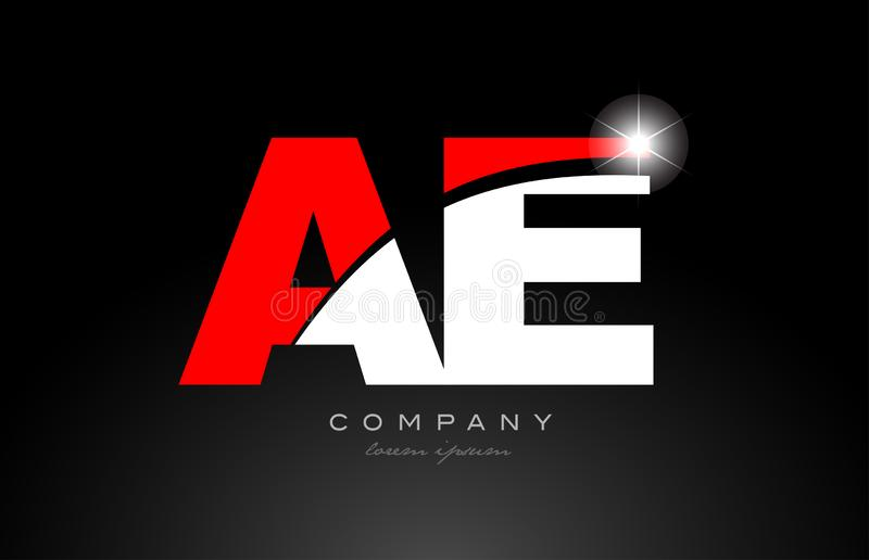 Red white color letter combination ae a e alphabet for logo icon design. Red white color alphabet letter combination ae a e logo icon design suitable for a royalty free illustration