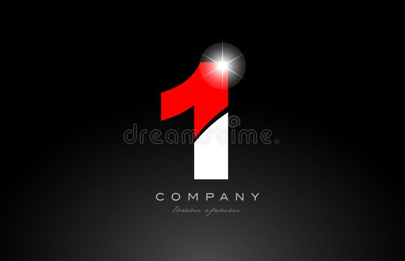 Red white color number 1 for logo icon design. Red white color number 1 logo icon design suitable for a company or business stock illustration