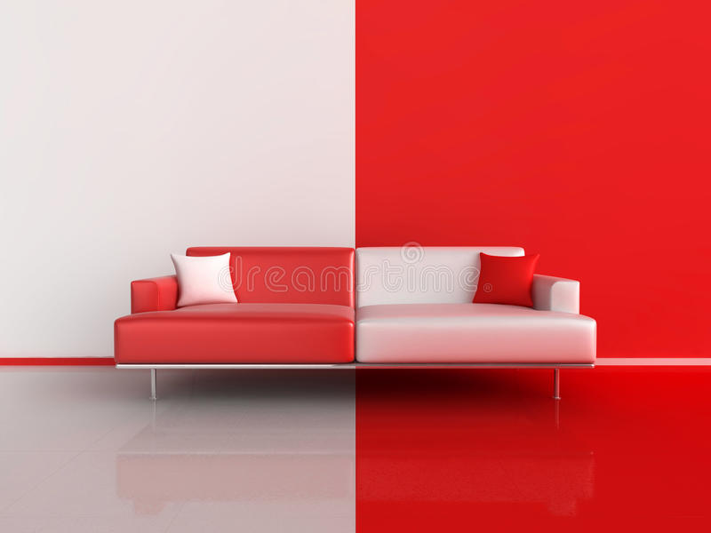 Download Red And White Contrast Sofa Stock Illustration   Illustration Of  Empty, Design: 17105750