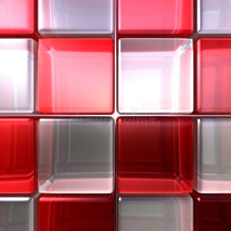 Red and white cubes. Red and white rounded glass cubes in front royalty free illustration