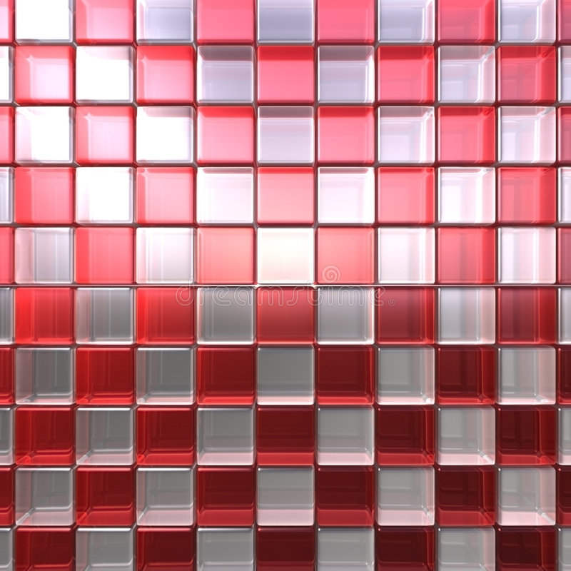 Red and white cubes. Red and white rounded glass cubes. High resolution with interesting glass refractions royalty free illustration