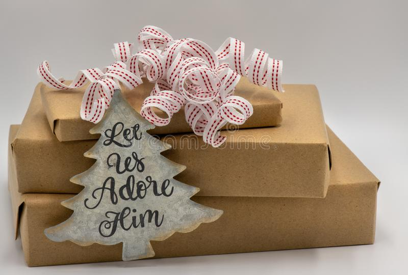 Red and white curly ribbon on gifts royalty free stock photo