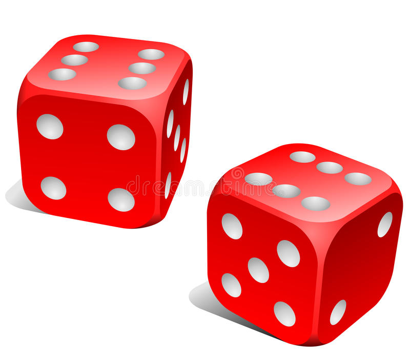 Red and white dice stock illustration