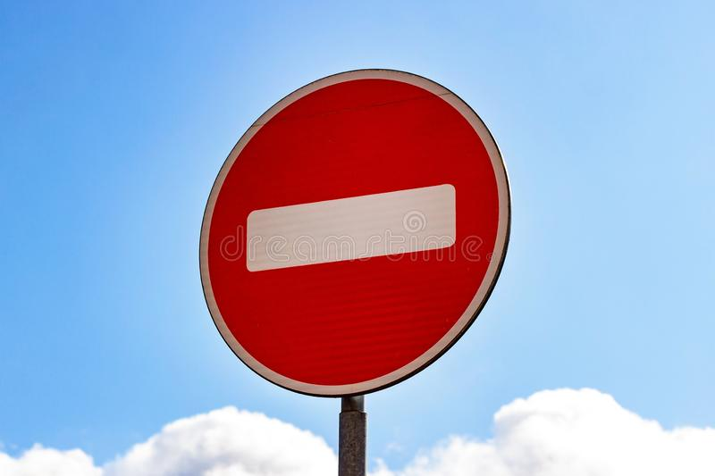 Red and white Do not enter sign on blue sky background. Red and white Do not enter sign on blue sky background stock photos