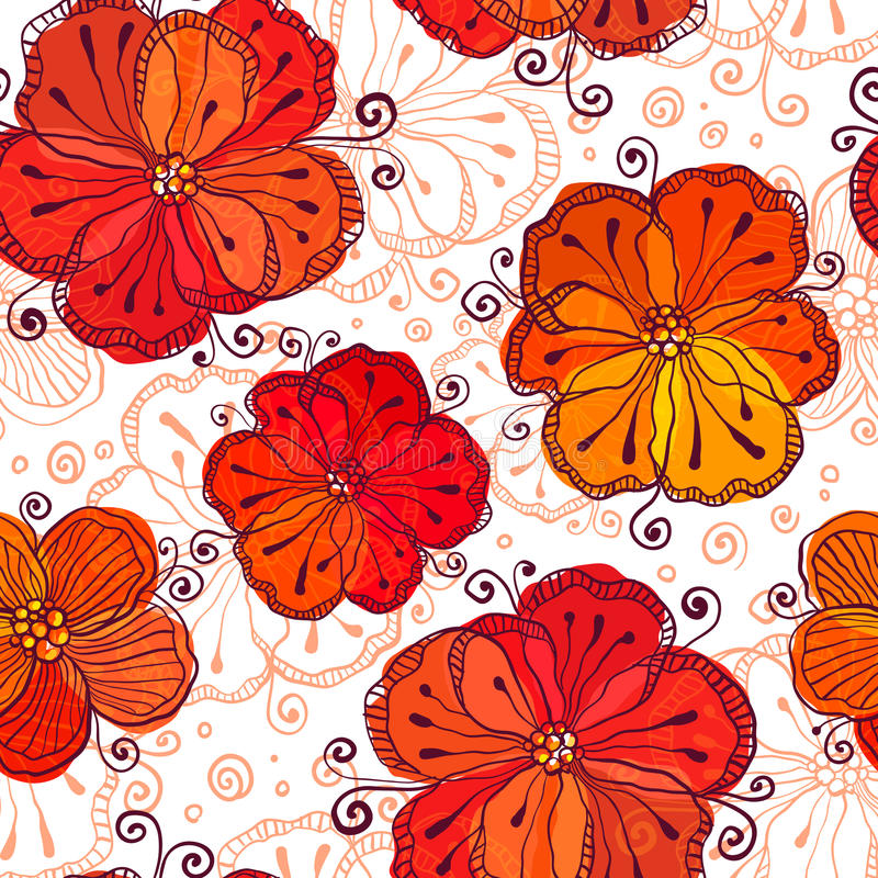 Download Red And White Doodle Flowers Vector Pattern Stock Vector - Illustration: 31229469