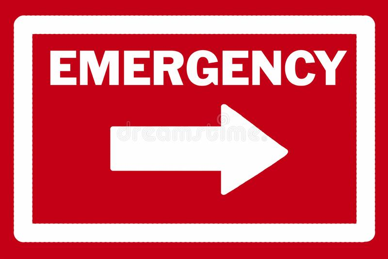 Red and white emergency arrow with words and arrow in white. EMERGENCY sign and arrow in white pointing to the right against a red background stock illustration