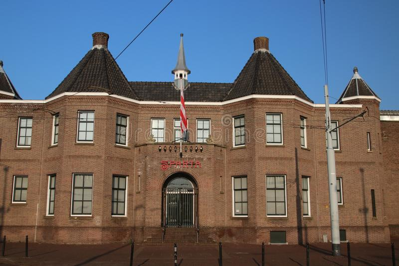 Red white flag on the front of the footbal stadium of Sparta in Rotterdam named Kasteel Castle in English stock photography