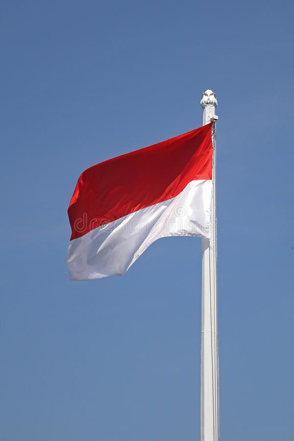 Red and white is flag of Indonesia. Pati District, Central Java, August 07, 2019 stock images